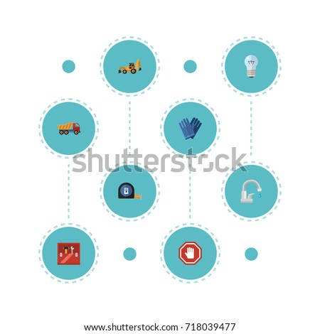 Flat Icons Van, Toolkit, Mitten And Other Vector Elements. Set Of Construction Flat Icons Symbols Also Includes Toolkit, Tractor, Measure Objects.