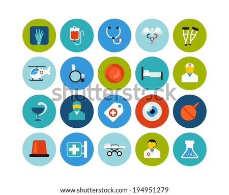 Flat icons vector set 19 - medical collection