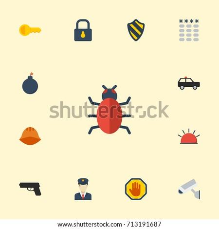 flat icons virus  clue  gun and