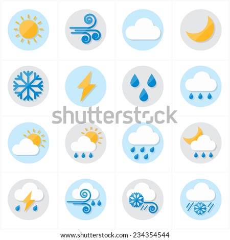 Flat Icons Weather Icons Vector Illustration
