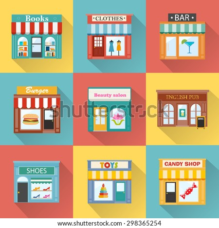 flat icons with different shops