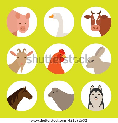 Flat  icons with farm animals. Set of flat farm animals. Farm animals on a white background. Farm animals and pets.