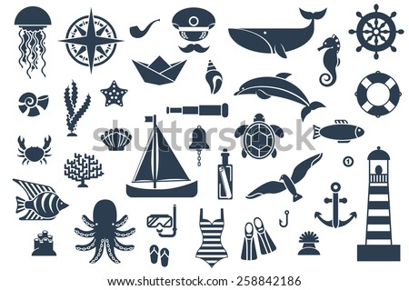 Flat icons with sea creatures and symbols. Vector illustration.