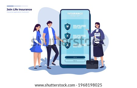 Flat illustration about joining life insurance, Register to join insurance via insurance mobile application