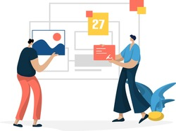 flat illustration Administration Management planning online business marketing, the concept of men entering documents and images