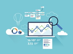 Flat illustration analytics dashboard