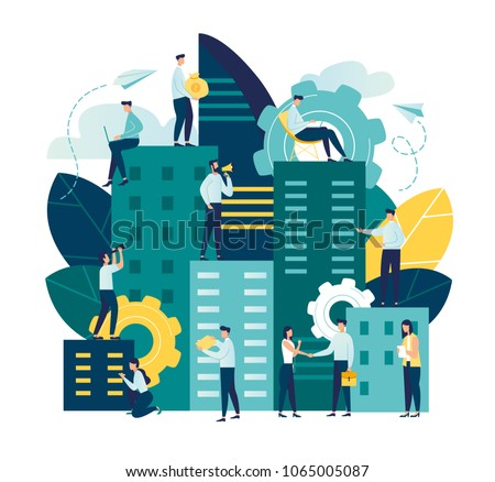 flat illustration, Future city. Eco-friendly, smart, modern, high-rise buildings, the environment, the architecture of skyscrapers, popular business centers and other real estate. Working time vector