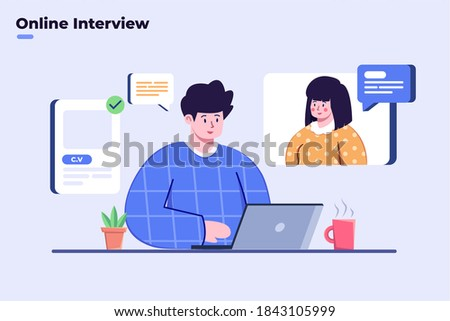 Flat illustration interview with online video call, social distance job interview, virtual interview process during covid-19 coronavirus pandemic, job interview remotely with video call using laptop.