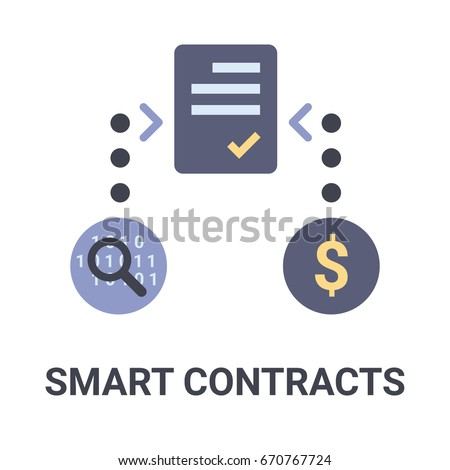 Flat illustration of a blue smart contracts icon