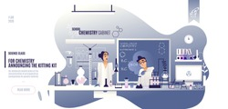 Flat illustration of a school chemistry teacher cabinet and a student holding a chemical experiment in the office on the background of a blackboard and formulas.
