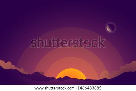 flat illustration of a sunrise