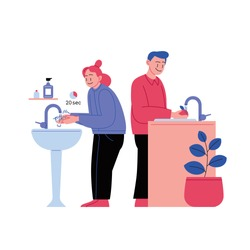 Flat illustration of a woman washing hands and a man washing fruits. Covid-19 prevention.