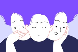 Flat illustration of a woman with bipolar disorder or borderline personality disorder. Three faces: anxios, neutral and joyful. Emotional dualism
