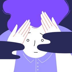 Flat illustration of an anxios person holding their head with their hands. Scared facial expression. Dark clouds on the front. Anxiety and panic disorder concept