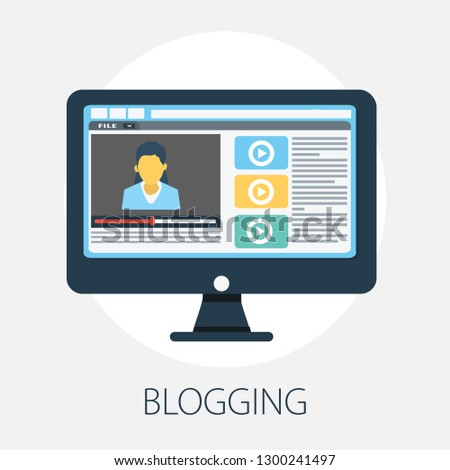 Flat illustration of Blog․ Modern Vector Icon. Blogging, Management, Online Blog. Content Management. Creative Writing