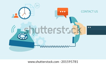 Flat illustration of contact us. Phone with icons. eps8