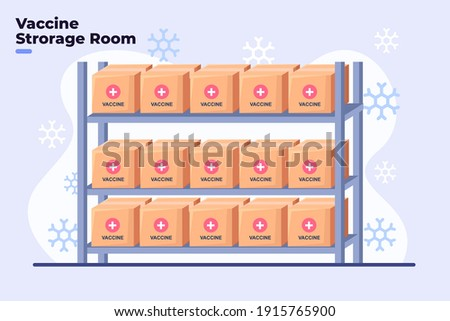 Flat illustration of Covid-19 Coronavirus Vaccine Storage Room with Cold Temperatures, Vaccine Room Fridge with Freeze temperature, Storage reagent container room, Safety room for medicine vaccine.