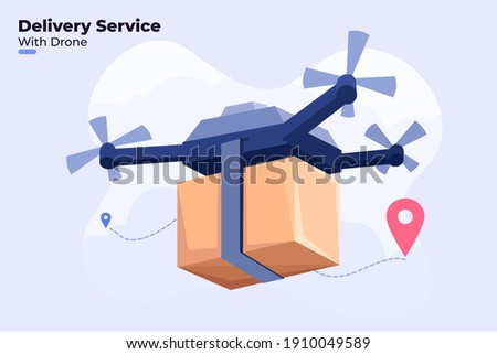 Flat illustration of Delivery Service With Drone, Shipping Parcel Package with Drone, Modern Delivery Service Technology, Shipping Logistic with Quadcopter Drones, Drones Cary Package parcel.