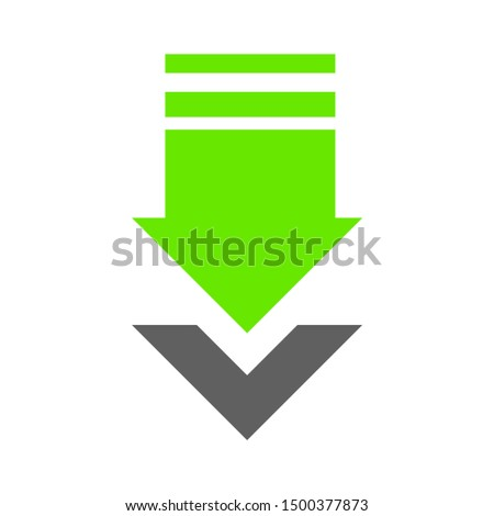 flat illustration of download vector icon, arrow sign symbol