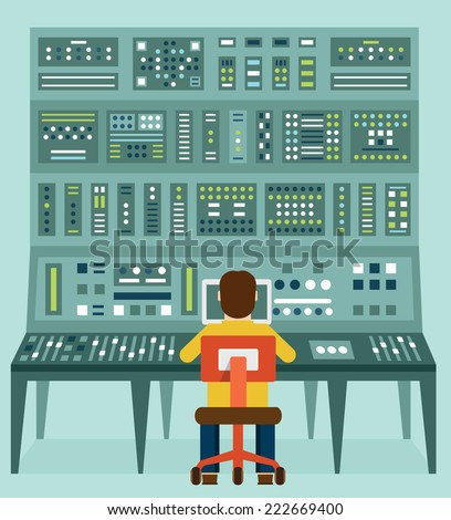 Flat illustration of expert with control panel. Analytics and management - vector illustration