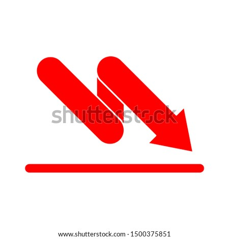 flat illustration of loss vector icon, reduction sign symbol
