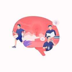 Flat illustration of man reading books, man drinking a glass of water, man doing sport activity jogging in silhouette of human brain, healthy lifestyle for healthy brain