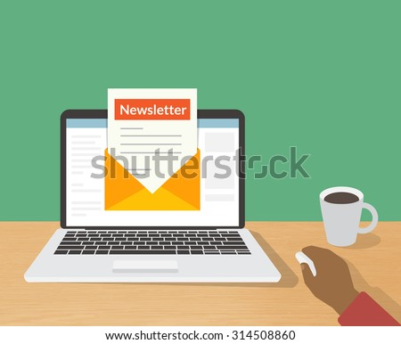 Flat illustration of man reading daily newsletter on his laptop at home