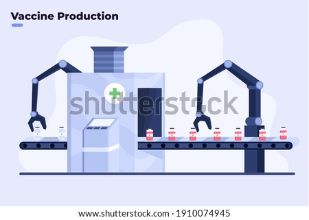 Flat illustration of Mass Producing Covid-19 Coronavirus Vaccine, Covid-19 Vaccine Production With modern Automatic Robot Technology, Pharmacy or medical factory manufacture producing Covid-19 vaccine Foto d'archivio ©