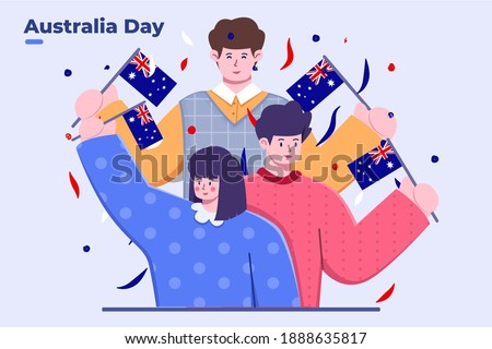 Flat Illustration of People Group  Celebrating Australia Day With Bring Australia National Flag and Falling Confetti, Festive Australia Day, Australian National Holiday, Greeting Card, Banner Postcard
