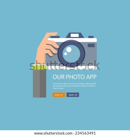 Flat illustration of photo camera with hand holding it. Eps10