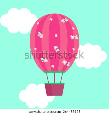 Flat illustration of pink striped hot air-balloon with brown basket ,leaves and flowers in the sky with white clouds. Elements for design. Birthday princess card for girl. Zdjęcia stock ©