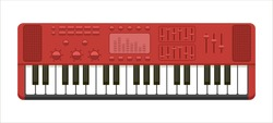 Flat illustration of red musical keyboard isolated on white background. Concept of music production, performance. dj audio equipment playing catchy dance tune or pop melody for party, retro wave idea