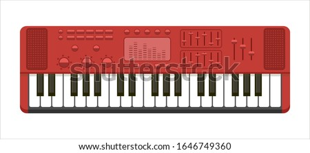 Flat illustration of red musical keyboard isolated on white background. Concept of music production, performance. dj audio equipment playing catchy dance tune or pop melody for party, retro wave idea stock photo