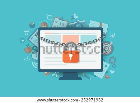 flat illustration of security