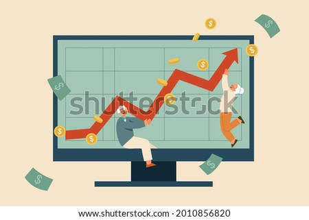 Flat illustration of senior couple's financial growth displayed on computer monitor. Concept of return on investment, pension savings account growth Stock fotó ©