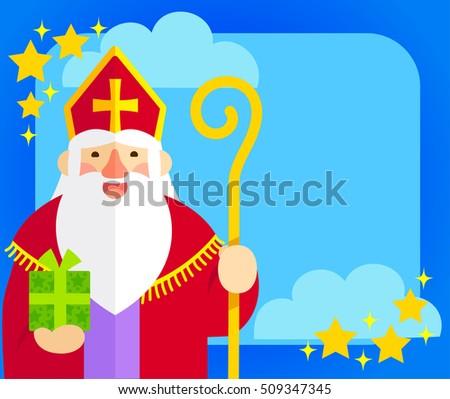 flat illustration of Sinterklaas with copy space