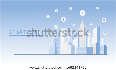 Flat illustration of smart city building vector, connect urban cityscape design for background