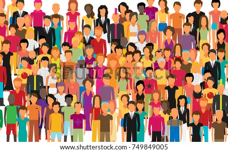 stock-vector-flat-illustration-of-society-members-with-a-large-group-of-men-and-women