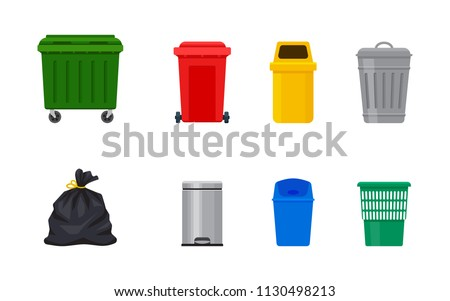 Flat illustration of street and in-house trash bins. Metal and plastic garbage containers. Colorful recycle trash buckets and bag vector set. Trash bin with pedal and swing top. Metal bucket with cap.