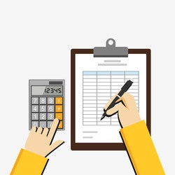 Flat illustration of tax document, spreadsheet, budget planning, market analysis, financial accounting.