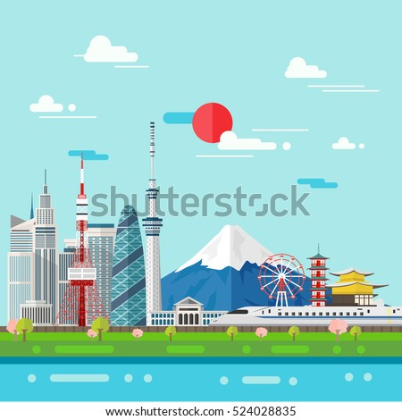 flat illustration of tokyo city
