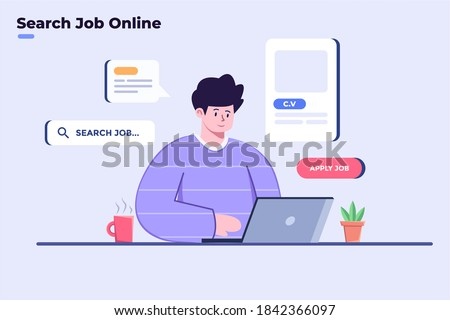 Flat illustration people search job in online or internet with laptop and at home. Person apply job in online. Searching work with internet technology.  Apply jobs online. Find a job online.