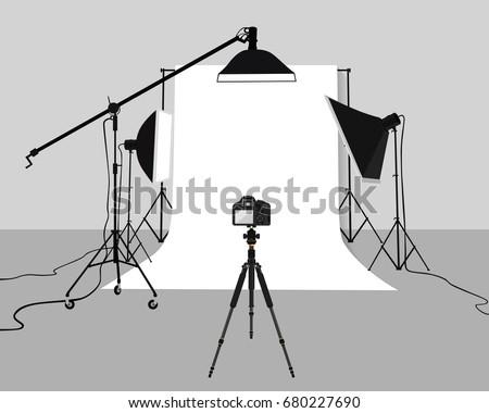 Flat Illustration Photography studio vector. Photo studio background with soft box light, camera, tripod and backdrop.