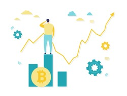 Flat illustration rear view of a businessman scratching his head looking at a growing graph on a concrete wall standing on a stack of bitcoins. Cryptocurrency, business and finance concepts.