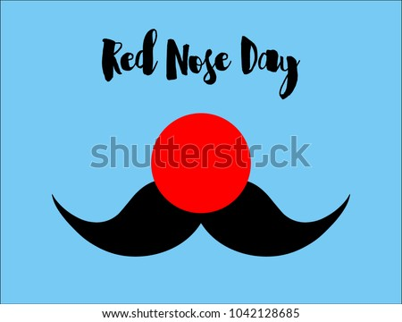 Flat illustration. Red nose and mustache. Red Nose Day concept. Vector.