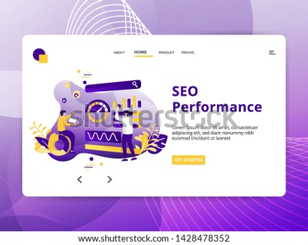 Flat Illustration SEO Performance, the concept of Search Engine Optimization, can be used for landing pages, web, ui, banners, templates, backgrounds, posters - Vector