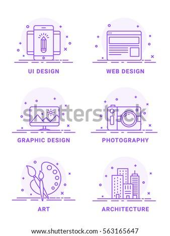 flat illustration set of ui