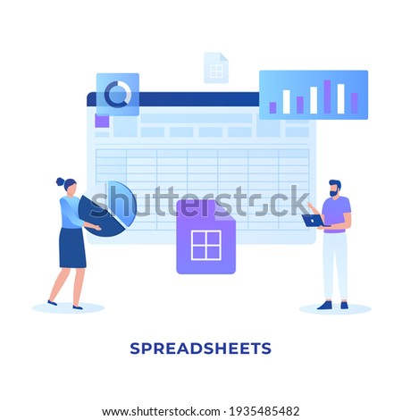 Flat illustration spreadsheets concept. Illustration for websites, landing pages, mobile applications, posters and banners. Stock photo ©