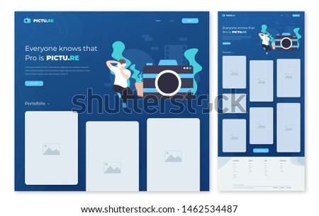Flat illustration style, a man using a camera, a photographer take a photo, web design hero image landing page. one page landing page