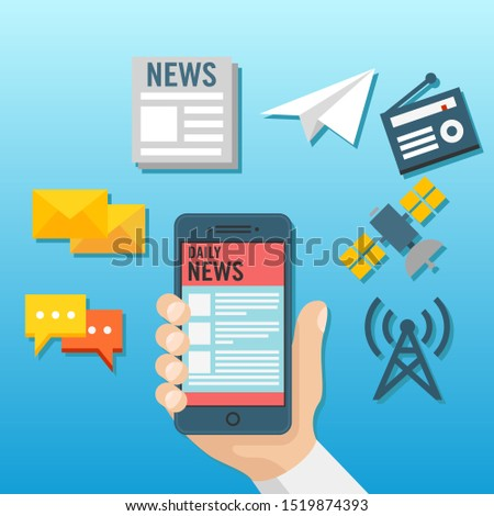 Flat illustration the hands of a user who is reading news from a smart phone. Viral news search through online information technology. Information technology graphic resources